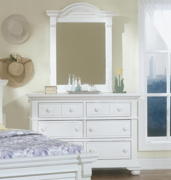 American Woodcrafters Cottage Traditions White Double Dresser and Vertical Mirror AWC-6510-260-030-DRMR