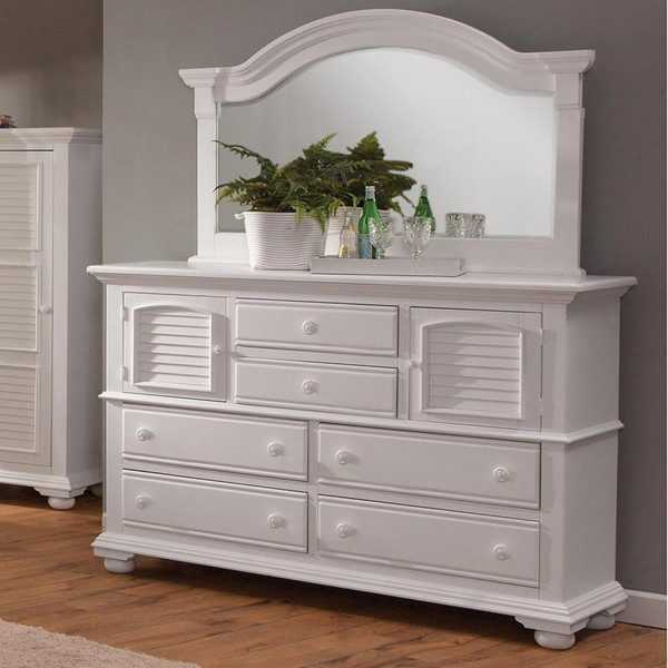 American Woodcrafters Cottage Traditions White High Dresser and Landscape Mirror AWC-6510-262-040-DRMR