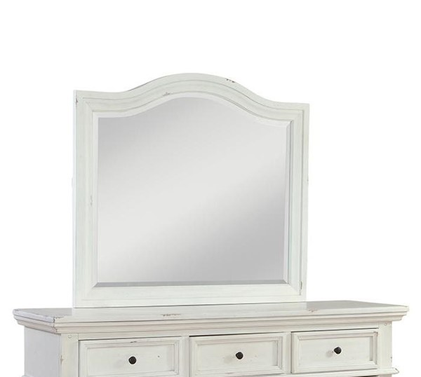 American Woodcrafters Stonebrook Antique White Landscape Mirror AWC-7810-040