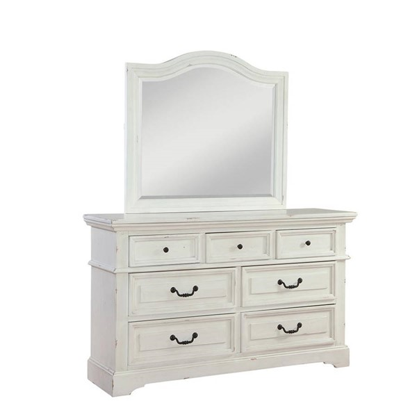American Woodcrafters Stonebrook Distressed Antique White Dresser and Mirror AWC-7810-DRMR