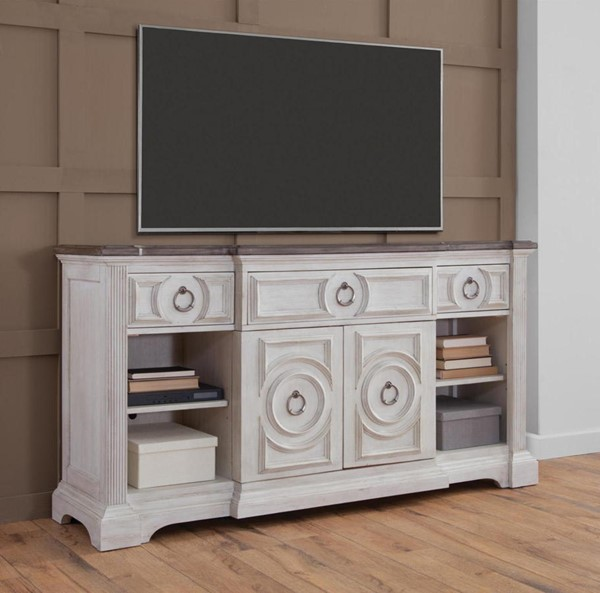 American Woodcrafters Brighten Antique White Charcoal Brown 72 Inch Console AWC-9410-232