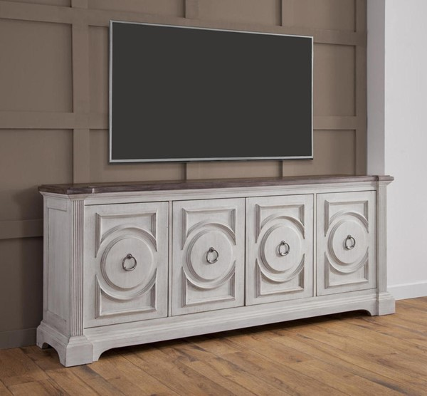 American Woodcrafters Brighten Antique White Charcoal Brown 84 Inch Console AWC-9410-240