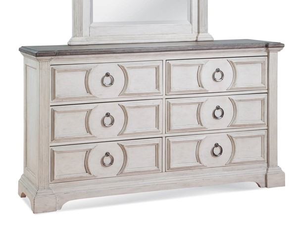 American Woodcrafters Brighten Antique White Charcoal Brown Dresser AWC-9410-260