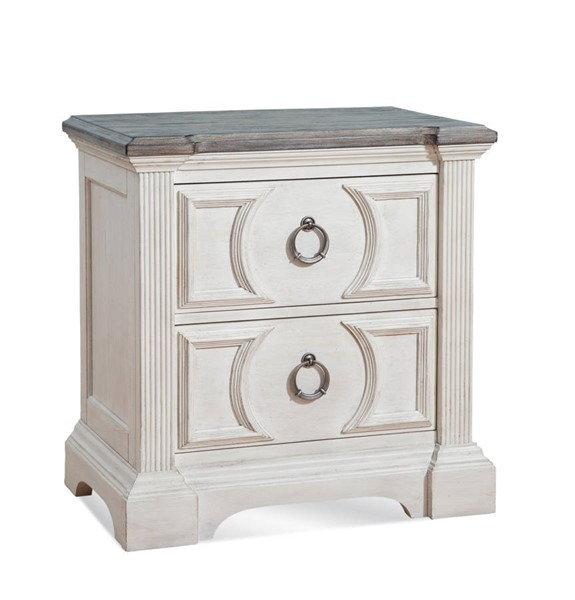 American Woodcrafters Brighten Antique White Charcoal Brown 2 Drawer Nightstand AWC-9410-420