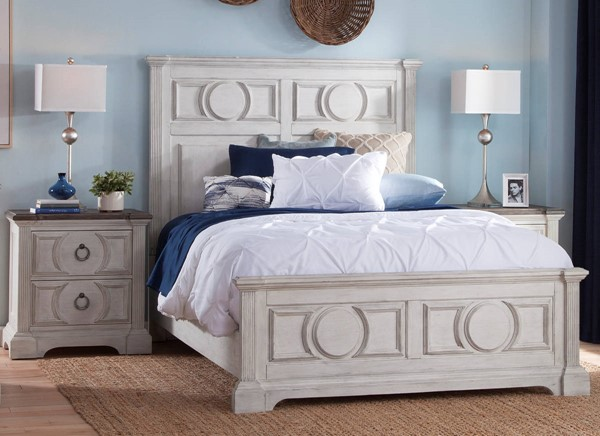 American Woodcrafters Brighten Antique White Charcoal Brown 2pc Bedroom Set with Queen Panel Bed AWC-9410-BR-S1