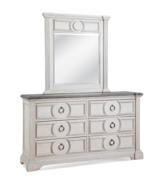 American Woodcrafters Brighten Antique White Charcoal Brown Dresser and Mirror AWC-9410-DRMR