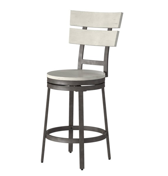 American Woodcrafters White Grey Counter Height Stool with Wood Frame AWC-B1-801-24W