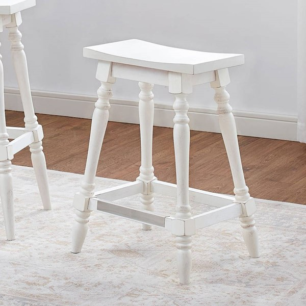 American Woodcrafters White Backless Counter Height Stool with Wood Frame AWC-B2-190-24W