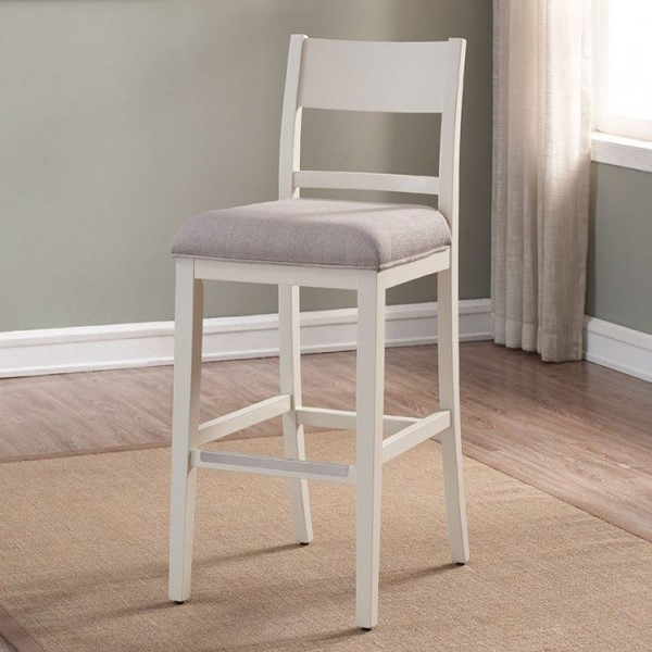 American Woodcrafters White Fabric Counter Height Stool with Wood Frame AWC-B2-237-26F