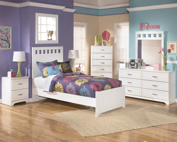 Lulu Cottage White Wood 2pc Bedroom Set W/Twin Panel Bed B102-S2