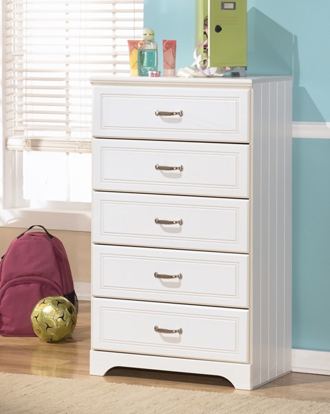 Lulu Casual White Wood Drawer Chest W/Handles B102-46