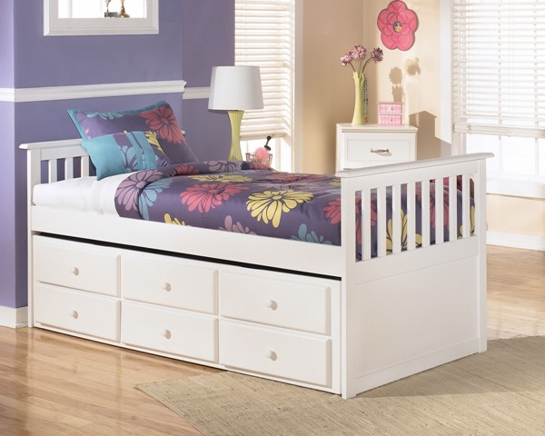 Lulu Youth White Wood Cottage Bed W/embossed Bead Framing B102-Beds