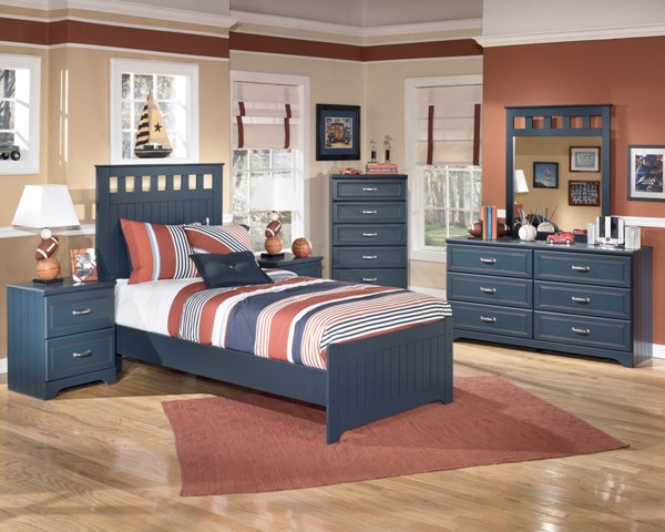 Leo Youth Blue Wood 2pc Bedroom Set W/Full Panel Bed B103-S3
