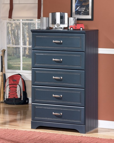 Leo Youth Blue Wood Bedroom Drawer Chest W/Handles B103-46