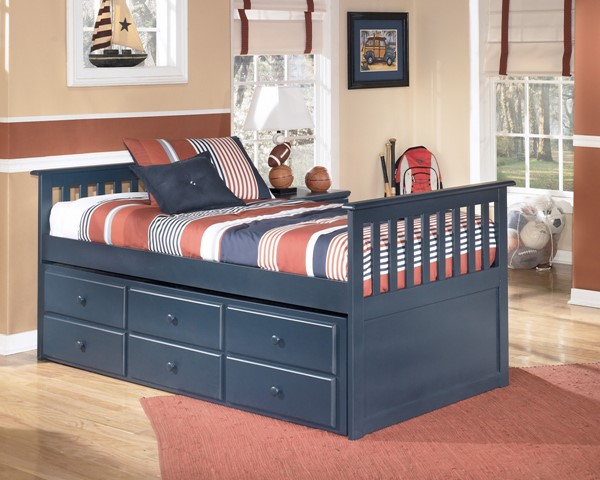 Leo Youth Blue Wood Bedroom Twin Trundle Frame B103-50T