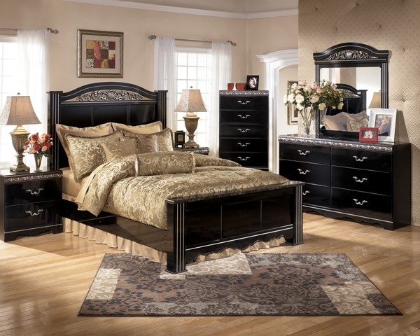 Constellations Traditional Black Wood 2pc Bedroom Set W/Queen Bed B104-Set1