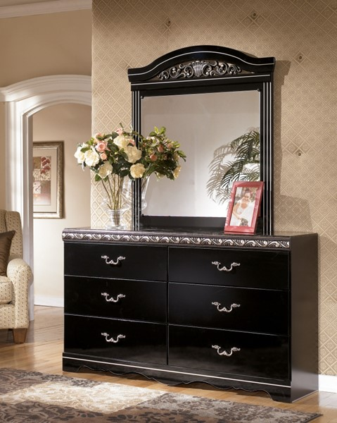 Constellations Traditional Black Wood Faux Stone Dresser And Mirror B104-31-B104-36