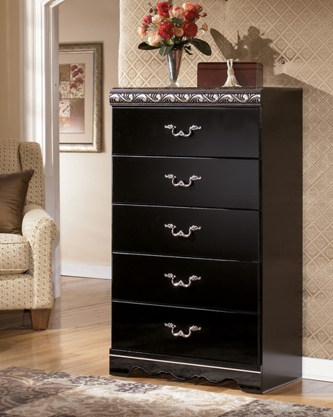 Constellations Traditional Black Wood Faux Stone Chest B104-46