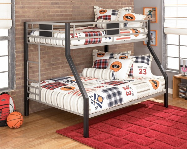 Dinsmore Contemporary Black Silver Metal Twin/Full Bunk Bed B106-56