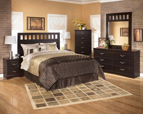 X-cess Contemporary Merlot Wood Glass Master Bedroom Set B117