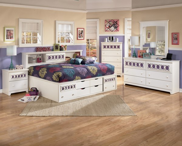 Zayley Contemporary White Wood 2pc Bedroom Set W/Full Storage Bed B131-S2