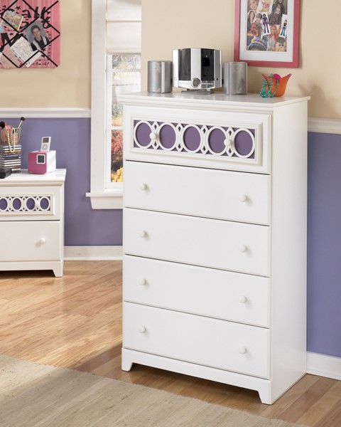 Zayley Contemporary White Wood Drawer Chest B131-46