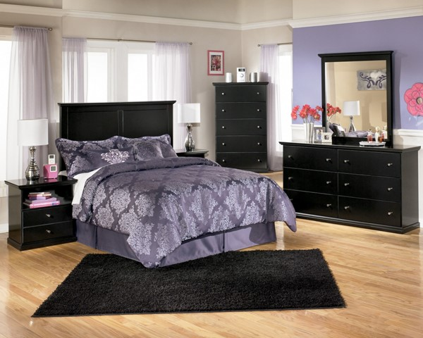 Maribel Wood 2pc Bedroom Set W/Queen/Full Panel Headboard B138-Set4