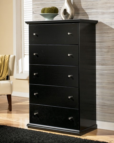 Maribel Cottage Black Wood Round Knobs Drawer Chest B138-46