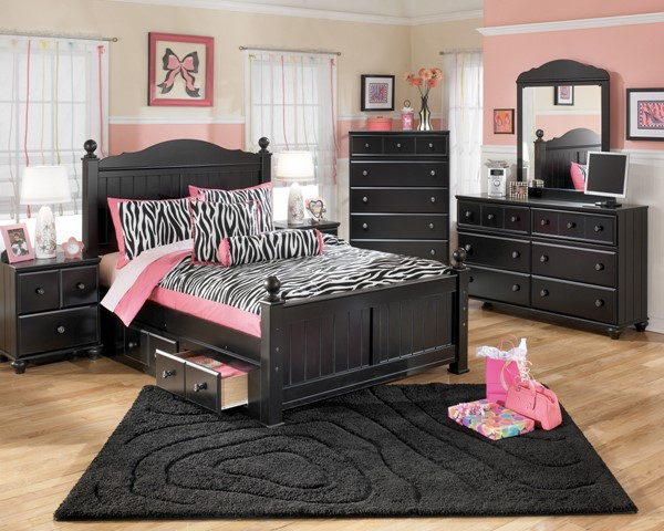 Jaidyn Youth Black Wood Full Poster Bed W/Storage B150-BedFS