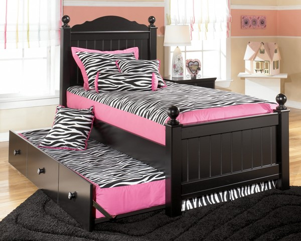 Jaidyn Youth Black Wood Full Poster Bed W/Trundle B150-BedFT
