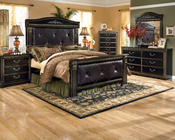 Coal Creek Dark Brown Wood 2pc Bedroom Set W King Mansion Bed B175 Set2