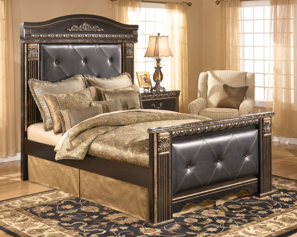 Coal Creek Traditional Dark Brown Gold Wood Faux Leather Beds B175-Bed