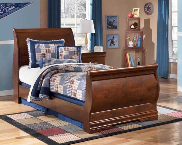Wilmington Traditional Replicated Cherry Grain Wood Sleigh Bed B178K-BedT