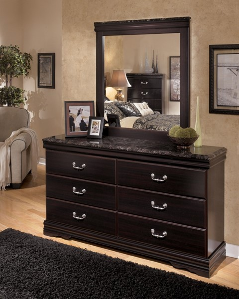 Esmarelda Traditional Dark Merlot Wood Faux Marble Dresser And Mirror B179-DM