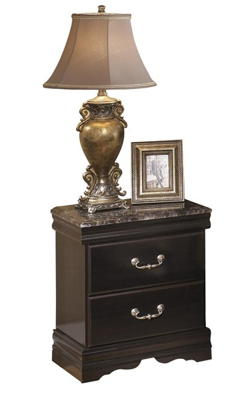 Esmarelda Traditional Dark Merlot Wood Faux Marble Night Stand B179-92