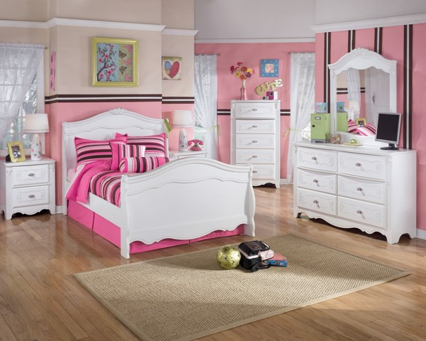 Exquisite Youth Luminous White Wood 2pc Bedroom Set W/Full Sleigh Bed B188-Set2