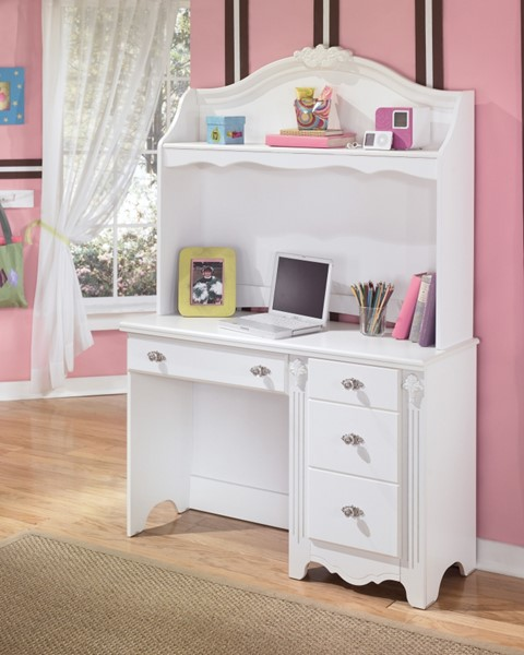 Ashley Furniture Exquisite Luminous White Desk With Hutch