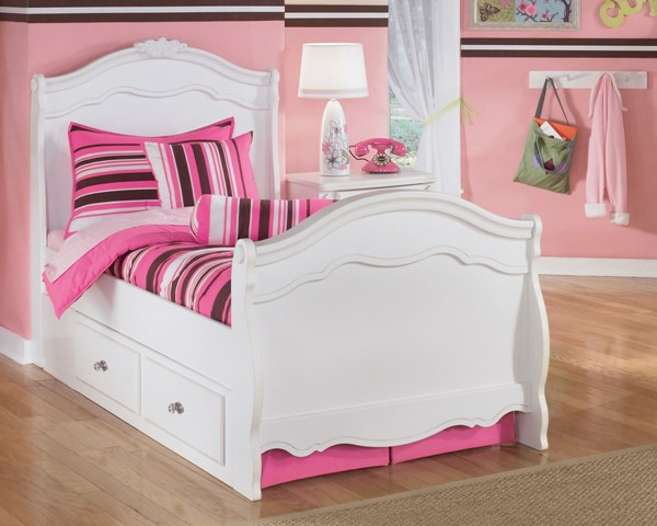 Exquisite Traditional Luminous White Wood Sleigh Bed B188-BedTSS
