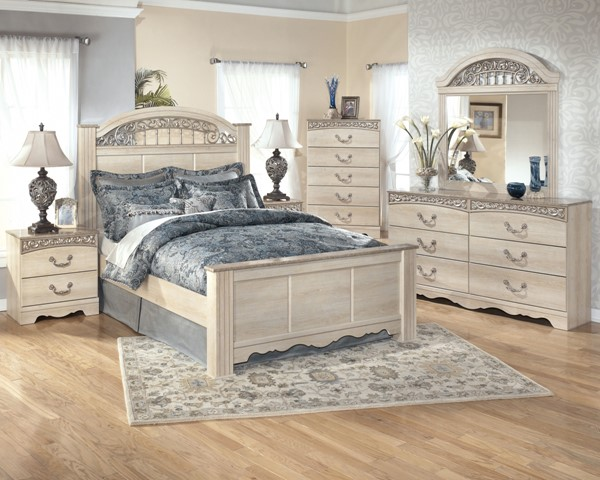 Catalina Traditional Antique White Wood 2pc Bedroom Set W/Queen Bed B196-S2