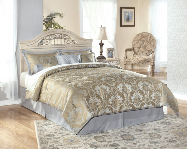 Catalina Traditional Antique White Wood Queen/Full Panel Headboard B196-57