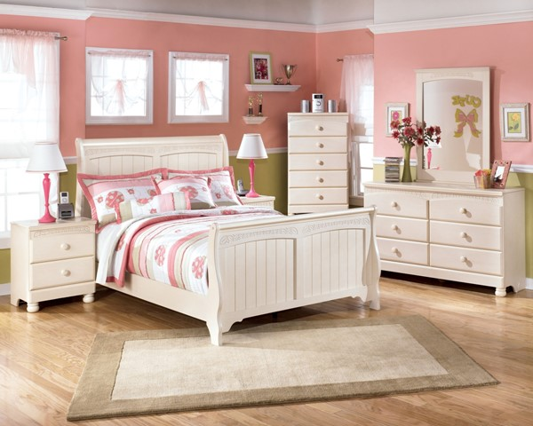 Cottage Retreat Cream Wood 2pc Bedroom Set W/Full Sleigh Bed B213K-Set4