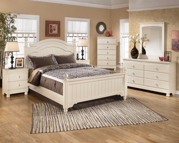 Cottage Retreat Cream Wood 2pc Bedroom Set W/Full Poster Bed B213K-Set3