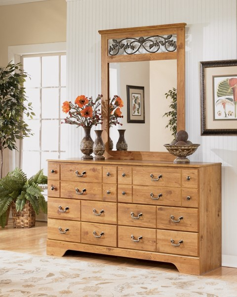 Bittersweet Cottage Replicated Pine Grain Wood Bedroom Mirror B219-36