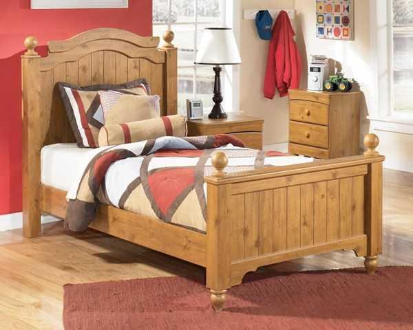 Stages Youth Light Brown Wood Twin Poster Bed The Classy Home