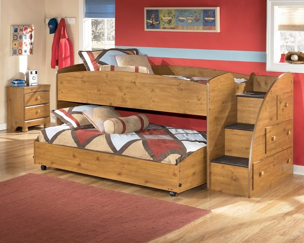 Stages Light Brown Loft Bed Right Side Steps The Classy Home