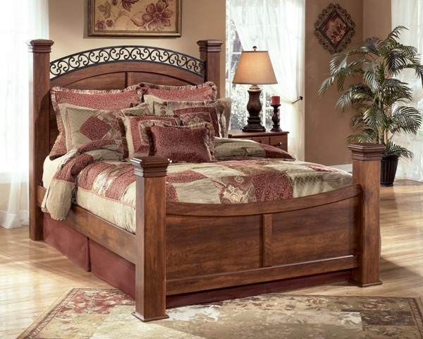 Timberline Traditional Warm Brown Wood Queen Poster Footboard B258-64N