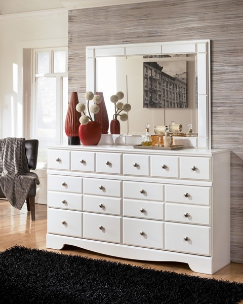 Weeki Contemporary White Wood Glass Dresser And Mirror B270-DM