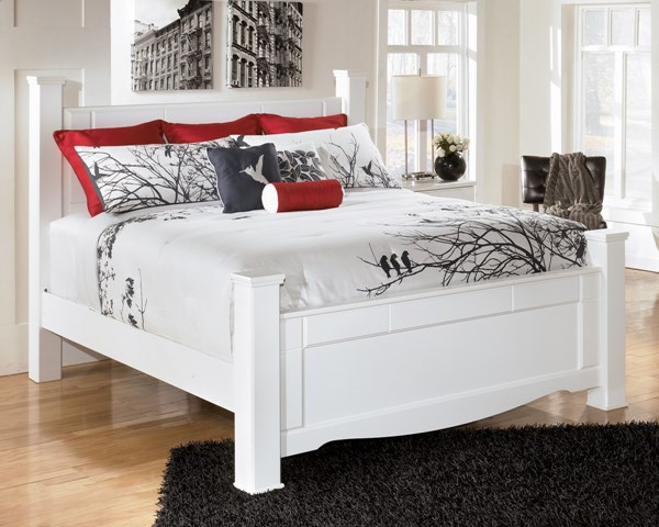 Weeki Contemporary White Wood King Poster Bed B270-KB