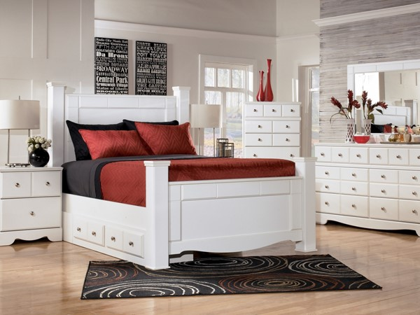 Weeki Contemporary White Wood 2pc Bedroom Sets B270-S