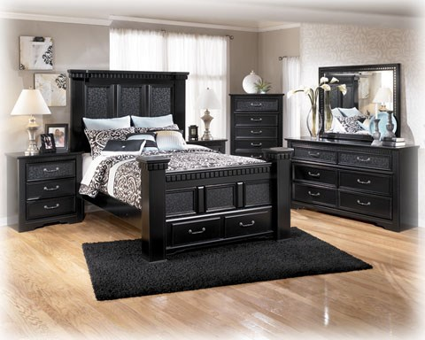 Cavallino Traditional Black Wood 2pc Bedroom Set W/Queen Storage Bed B291-Set6
